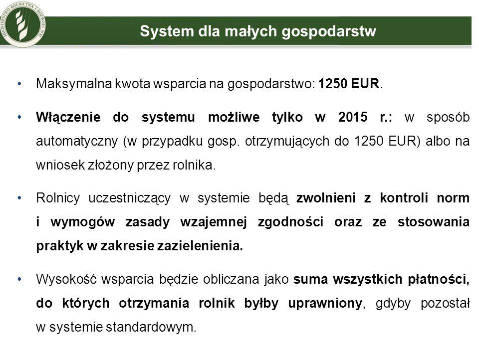 System dla małych gospodarstw Maksymalna kwota wsparcia na gospodarstwo: 1250 EUR. Włączenie do systemu możliwe tylko w 2015 r.: w sposób automatyczny