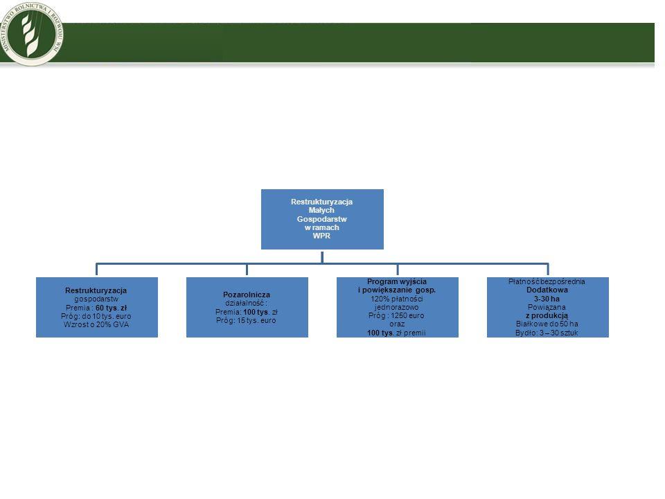 Restrukturyzacja Małych Gospodarstw w ramach WPR Restrukturyzacja gospodarstw Premia : 60 tys. zł Próg: do 10 tys. euro Wzrost o 20% GVA Pozarolnicza