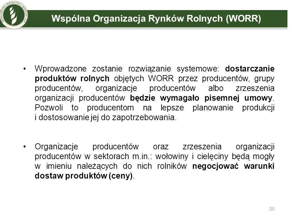 Wprowadzone zostanie rozwiązanie systemowe: dostarczanie produktów rolnych objętych WORR przez producentów, grupy producentów, organizacje producentów