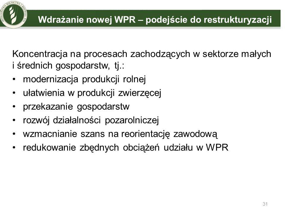 31 Wdrażanie nowej WPR – podejście do restrukturyzacji Koncentracja na procesach zachodzących w sektorze małych i średnich gospodarstw, tj.: moderniza