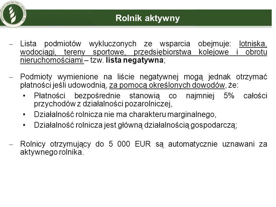 Jednolita płatność obszarowa (1)  Będzie przysługiwała do powierzchni kwalifikujących się hektarów, będących w posiadaniu rolnika w dniu 31 maja roku, w którym został złożony wniosek;  Będzie przysługiwała po spełnieniu minimalnych wymogów: powierzchnia, do której mają zostać przyznane płatności, jest nie mniejsza niż jeden hektar, albo w przypadku rolników otrzymujących wsparcie związane z produkcją do zwierząt - całkowita kwota z tytułu płatności, o które ubiega się rolnik, jest nie mniejsza niż 200 EUR.