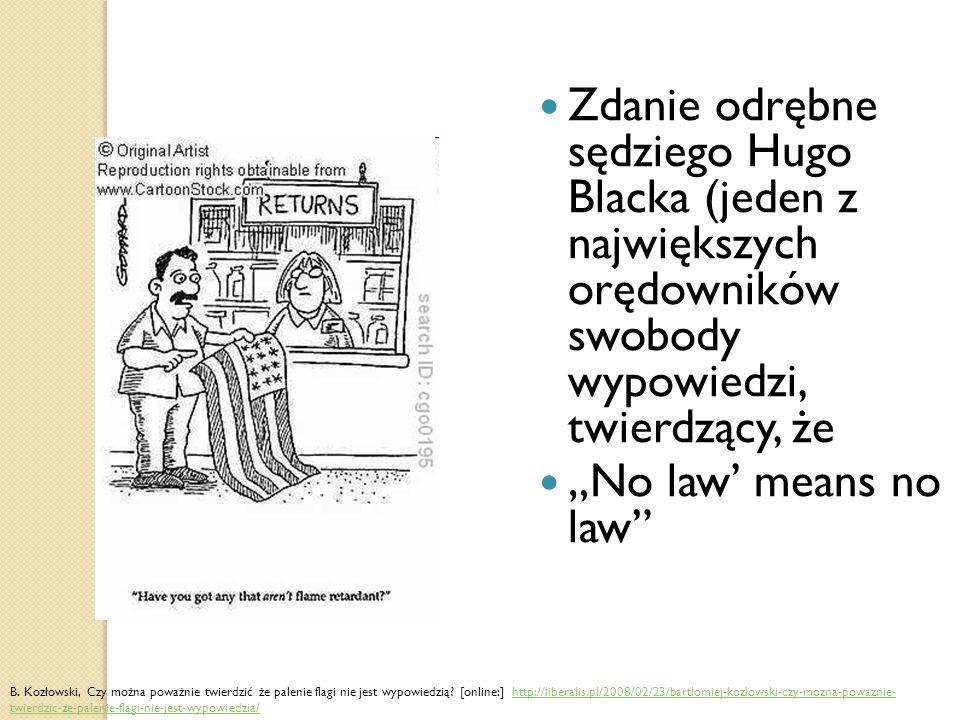 """Zdanie odrębne sędziego Hugo Blacka (jeden z największych orędowników swobody wypowiedzi, twierdzący, że """"No law' means no law B."""