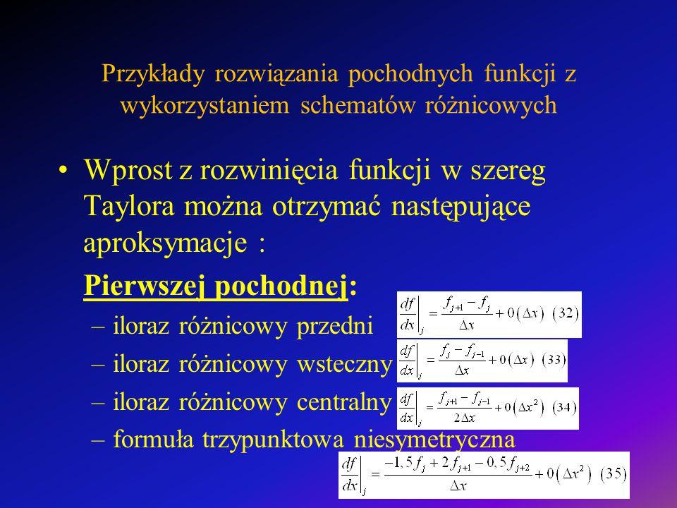 Przykłady rozwiązania pochodnych funkcji z wykorzystaniem schematów różnicowych Wprost z rozwinięcia funkcji w szereg Taylora można otrzymać następujące aproksymacje : Pierwszej pochodnej: –iloraz różnicowy przedni –iloraz różnicowy wsteczny –iloraz różnicowy centralny –formuła trzypunktowa niesymetryczna