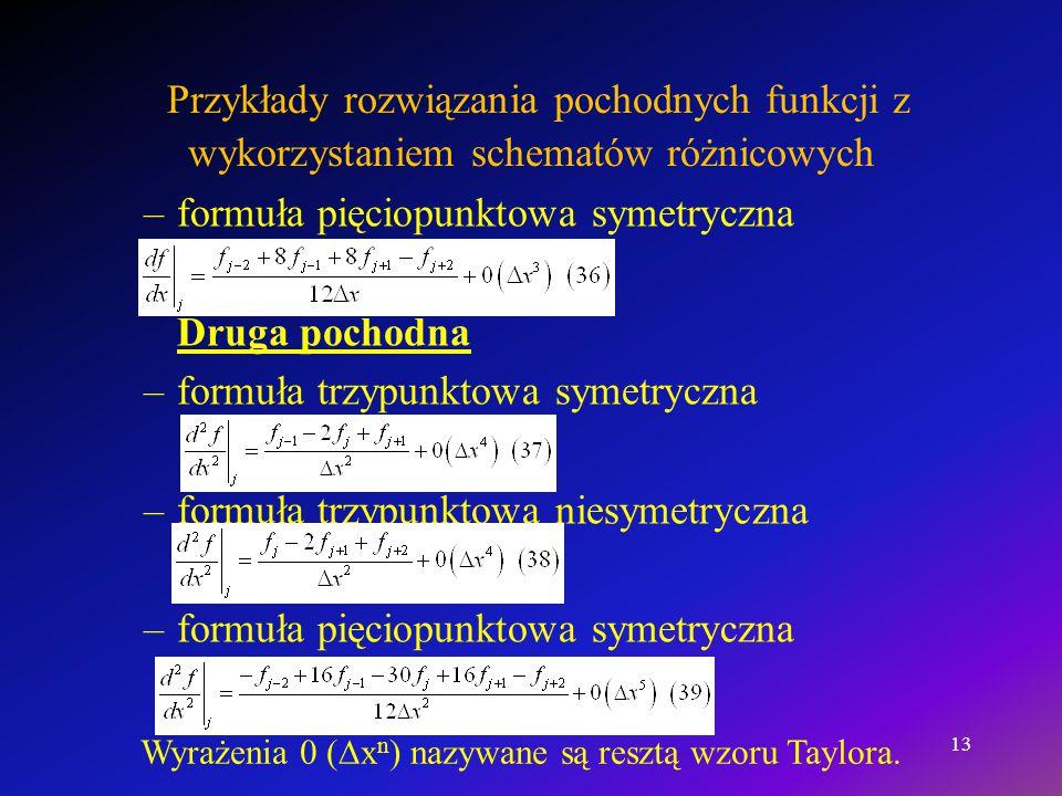 Przykłady rozwiązania pochodnych funkcji z wykorzystaniem schematów różnicowych –formuła pięciopunktowa symetryczna Druga pochodna –formuła trzypunkto