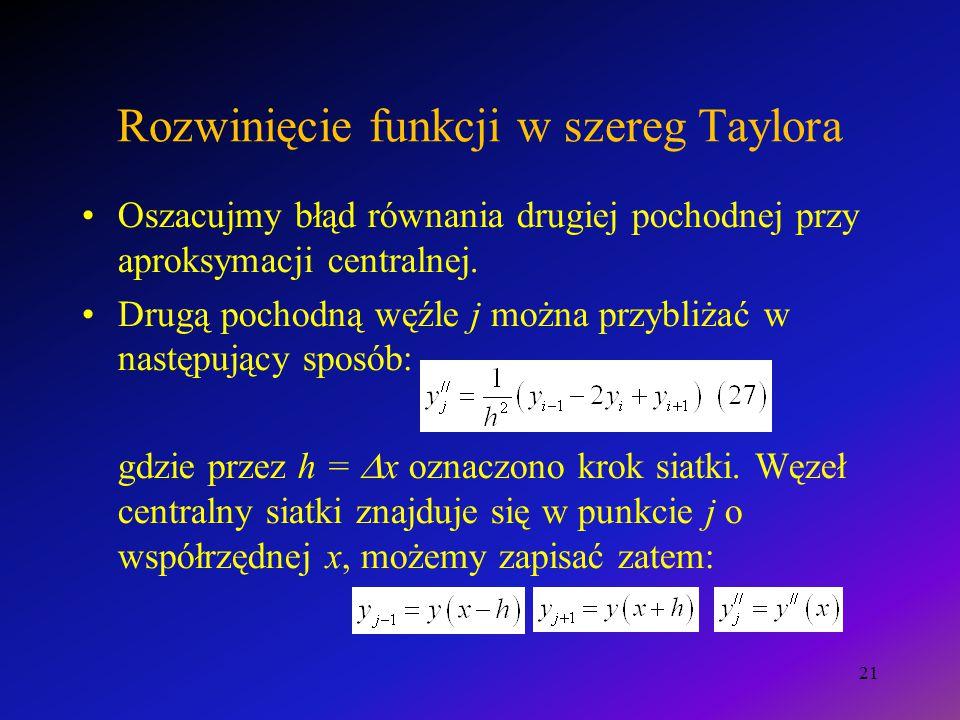 Rozwinięcie funkcji w szereg Taylora Oszacujmy błąd równania drugiej pochodnej przy aproksymacji centralnej.