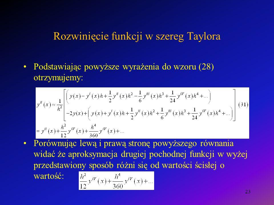 Rozwinięcie funkcji w szereg Taylora Podstawiając powyższe wyrażenia do wzoru (28) otrzymujemy: Porównując lewą i prawą stronę powyższego równania widać że aproksymacja drugiej pochodnej funkcji w wyżej przedstawiony sposób różni się od wartości ścisłej o wartość: 23