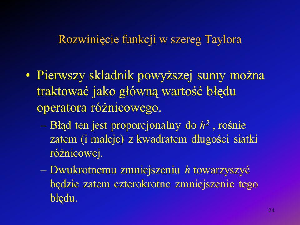 Rozwinięcie funkcji w szereg Taylora Pierwszy składnik powyższej sumy można traktować jako główną wartość błędu operatora różnicowego. –Błąd ten jest