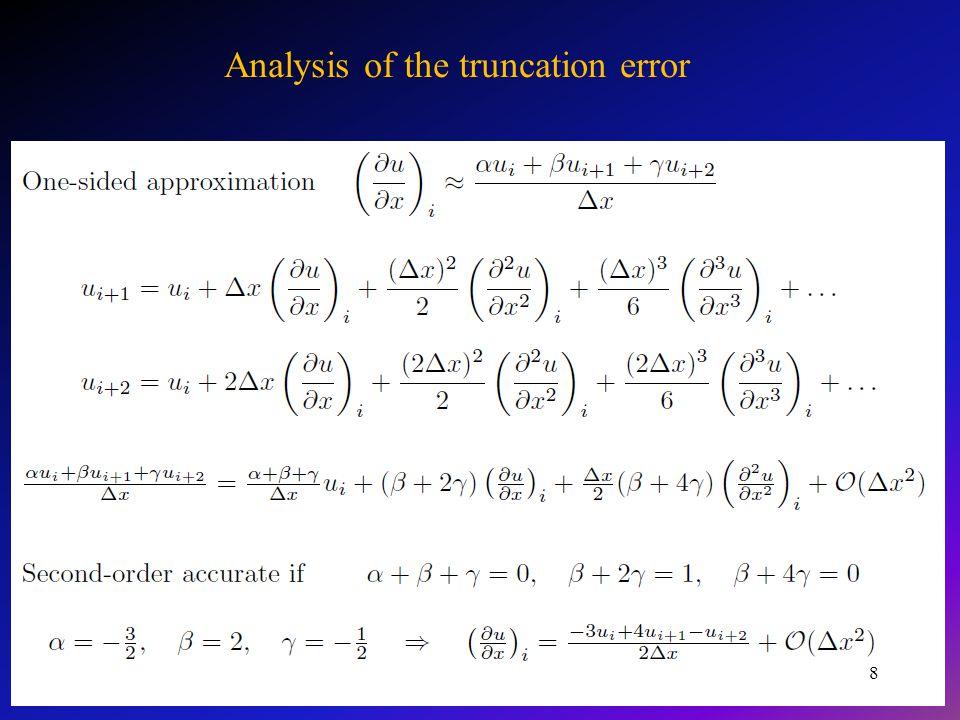 Przykłady rozwiązania pochodnych funkcji z wykorzystaniem schematów różnicowych Przy aproksymacji II pochodnej wyraźnie widać, że najdokładniejszą formułą jest pięciopunktowa formuła symetryczna, a następnie w zależności od rodzaju funkcji formuła trzypunktowa symetryczna.