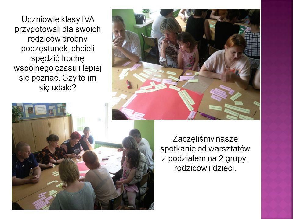 Uczniowie klasy IVA przygotowali dla swoich rodziców drobny poczęstunek, chcieli spędzić trochę wspólnego czasu i lepiej się poznać.