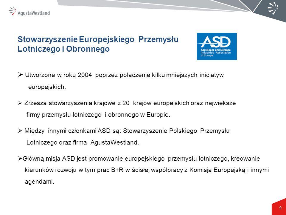 9 Stowarzyszenie Europejskiego Przemysłu Lotniczego i Obronnego  Utworzone w roku 2004 poprzez połączenie kilku mniejszych inicjatyw europejskich. 