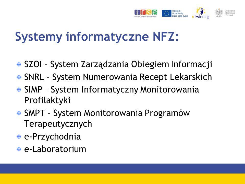 Systemy informatyczne NFZ: SZOI – System Zarządzania Obiegiem Informacji SNRL – System Numerowania Recept Lekarskich SIMP – System Informatyczny Monitorowania Profilaktyki SMPT – System Monitorowania Programów Terapeutycznych e-Przychodnia e-Laboratorium