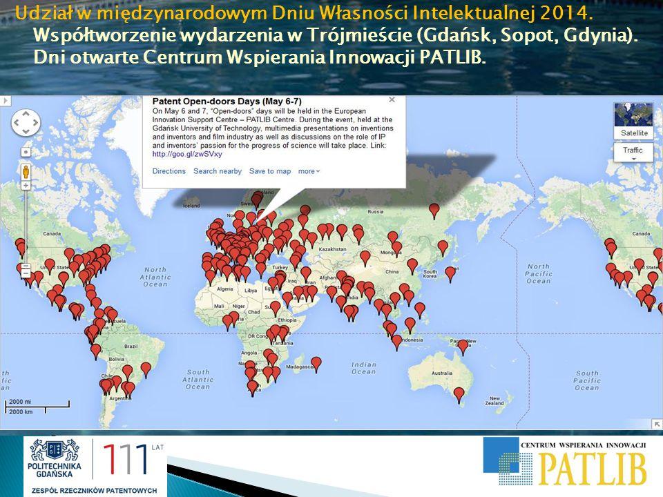 Udział w międzynarodowym Dniu Własności Intelektualnej 2014. Współtworzenie wydarzenia w Trójmieście (Gdańsk, Sopot, Gdynia). Dni otwarte Centrum Wspi