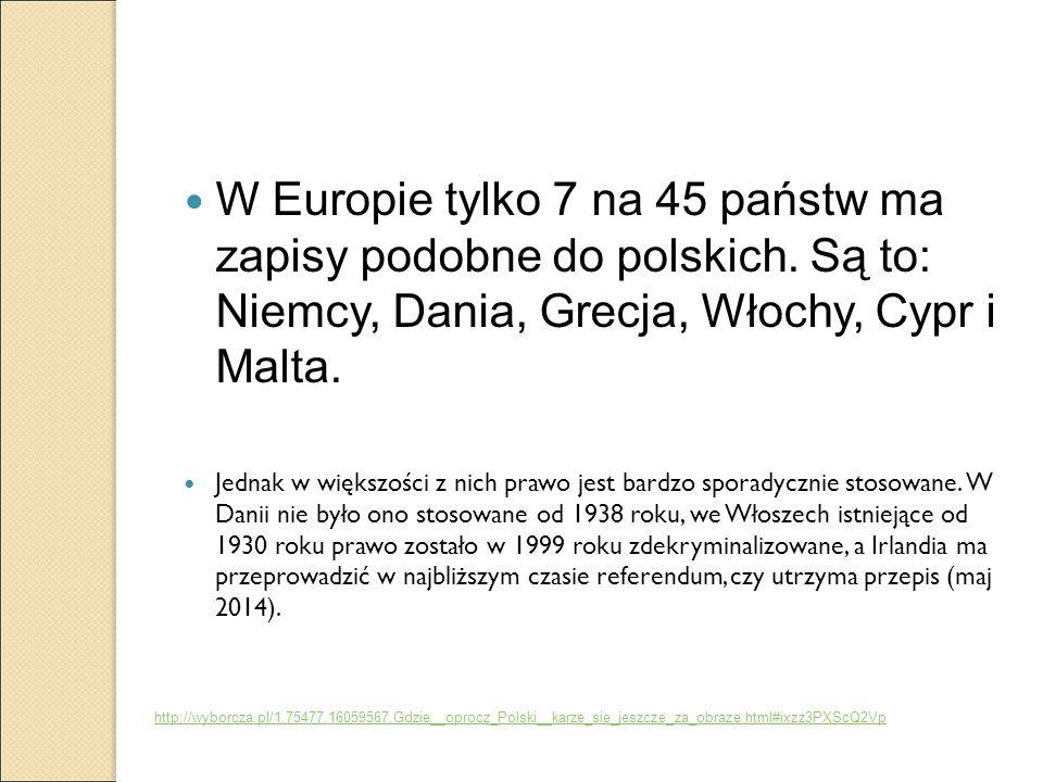W Europie tylko 7 na 45 państw ma zapisy podobne do polskich. Są to: Niemcy, Dania, Grecja, Włochy, Cypr i Malta. Jednak w większości z nich prawo jes