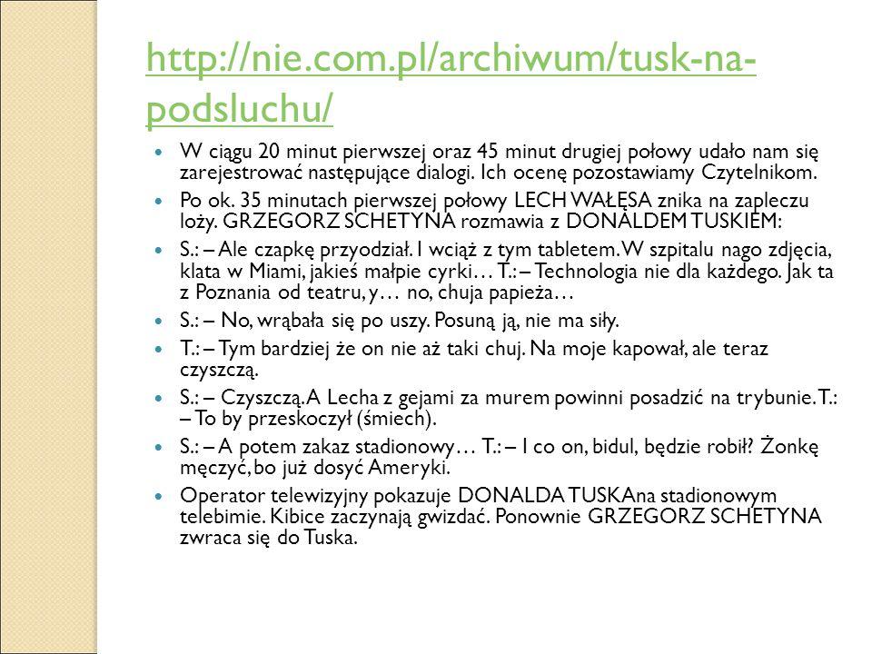 http://nie.com.pl/archiwum/tusk-na- podsluchu/ W ciągu 20 minut pierwszej oraz 45 minut drugiej połowy udało nam się zarejestrować następujące dialogi