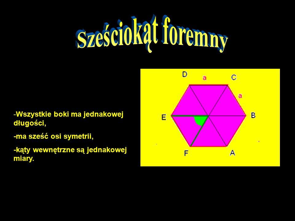 -Wszystkie boki ma jednakowej długości, -ma sześć osi symetrii, -kąty wewnętrzne są jednakowej miary.