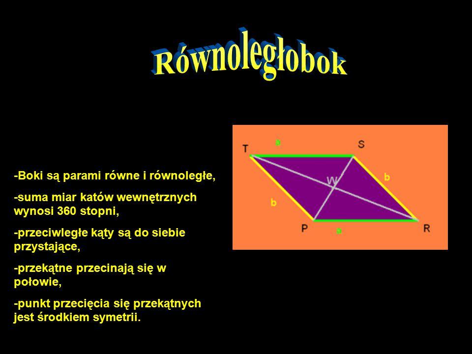 -Boki są parami równe i równoległe, -suma miar katów wewnętrznych wynosi 360 stopni, -przeciwległe kąty są do siebie przystające, -przekątne przecinają się w połowie, -punkt przecięcia się przekątnych jest środkiem symetrii.
