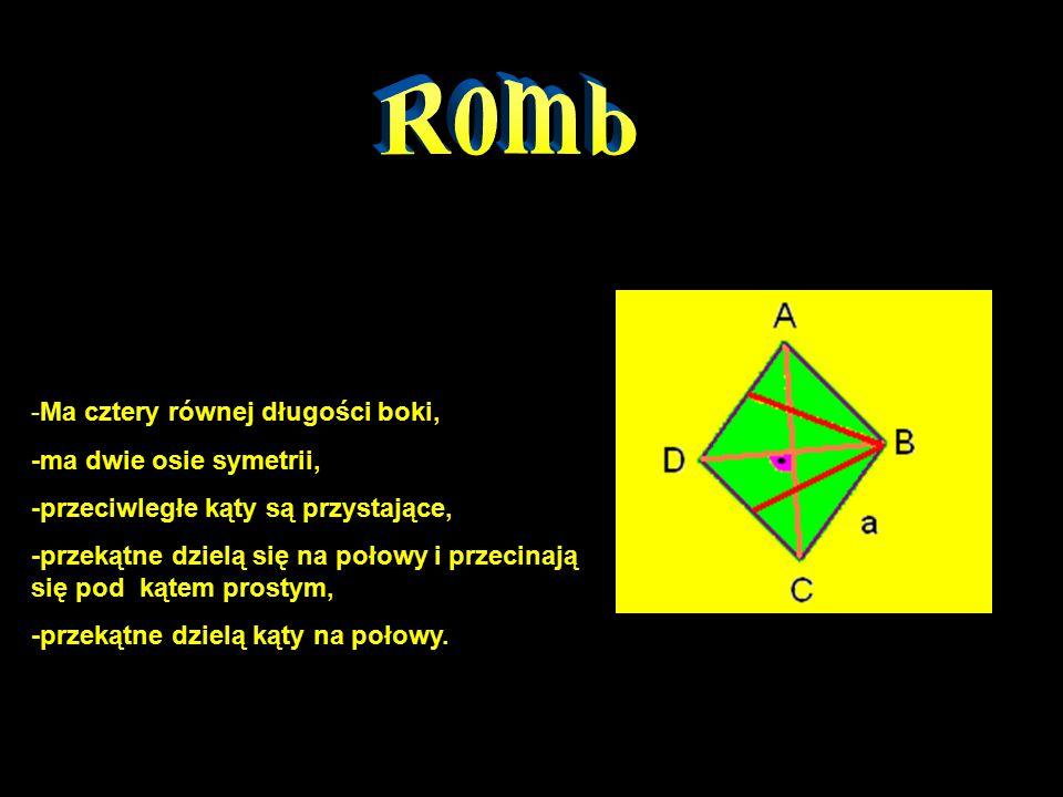 -Ma cztery równej długości boki, -ma dwie osie symetrii, -przeciwległe kąty są przystające, -przekątne dzielą się na połowy i przecinają się pod kątem prostym, -przekątne dzielą kąty na połowy.