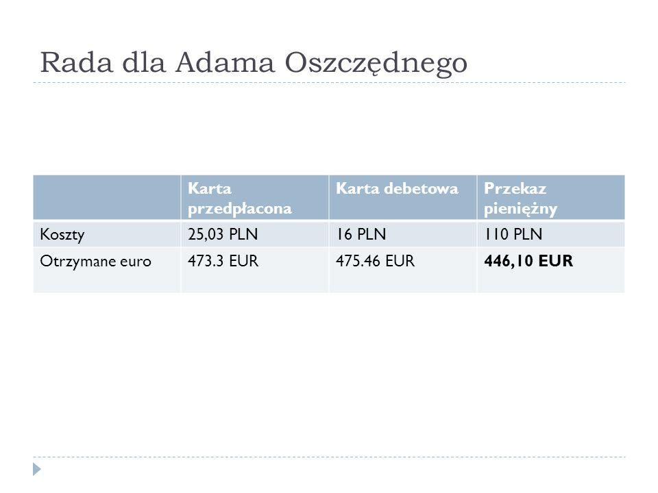 Rada dla Adama Oszczędnego Karta przedpłacona Karta debetowaPrzekaz pieniężny Koszty25,03 PLN16 PLN110 PLN Otrzymane euro473.3 EUR475.46 EUR446,10 EUR
