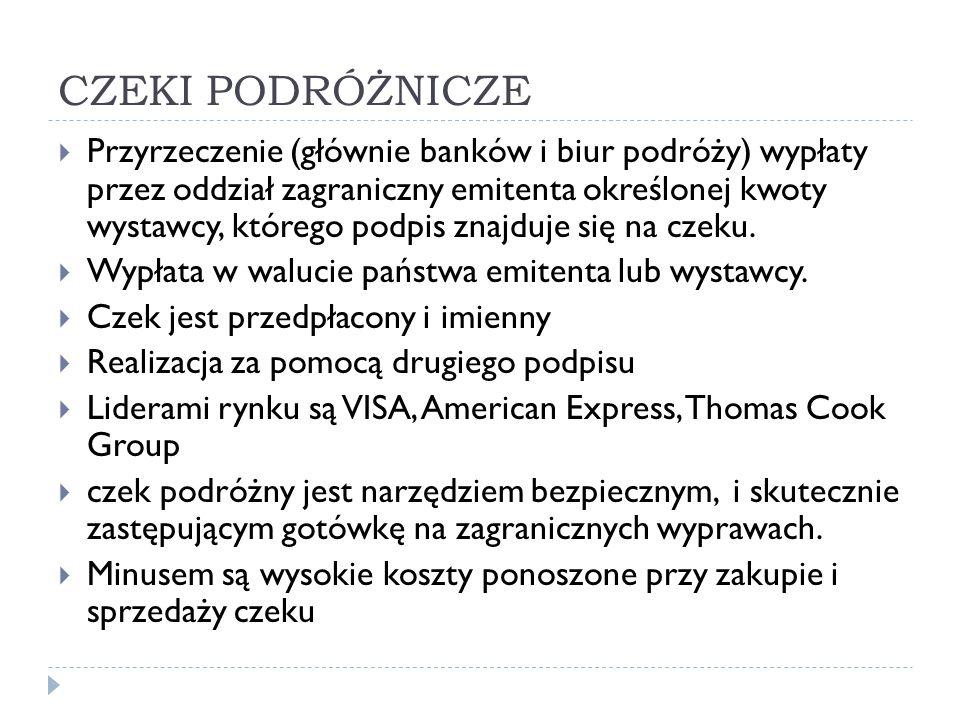 CZEKI PODRÓŻNICZE  Przyrzeczenie (głównie banków i biur podróży) wypłaty przez oddział zagraniczny emitenta określonej kwoty wystawcy, którego podpis