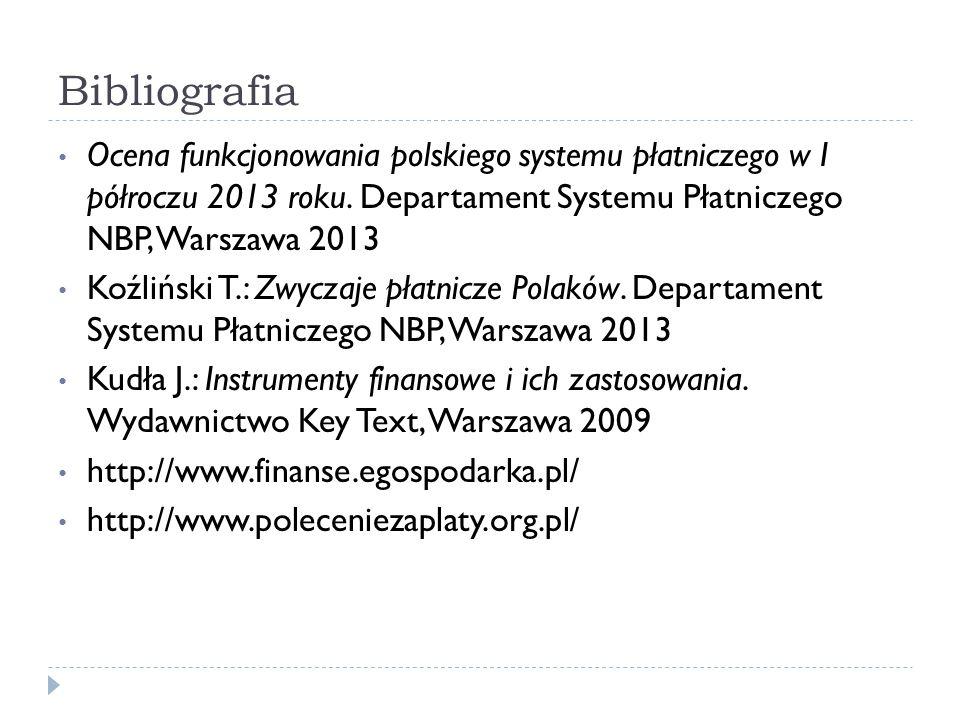 Bibliografia Ocena funkcjonowania polskiego systemu płatniczego w I półroczu 2013 roku. Departament Systemu Płatniczego NBP, Warszawa 2013 Koźliński T
