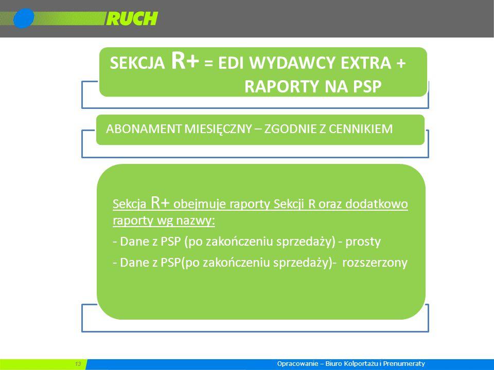 13 SEKCJA R+ = EDI WYDAWCY EXTRA + RAPORTY NA PSP ABONAMENT MIESIĘCZNY – ZGODNIE Z CENNIKIEM Sekcja R+ obejmuje raporty Sekcji R oraz dodatkowo raport