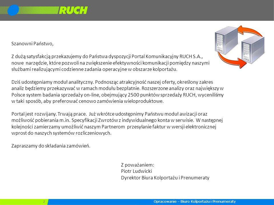 2 Szanowni Państwo, Z dużą satysfakcją przekazujemy do Państwa dyspozycji Portal Komunikacyjny RUCH S.A., nowe narzędzie, które pozwoli na zwiększenie