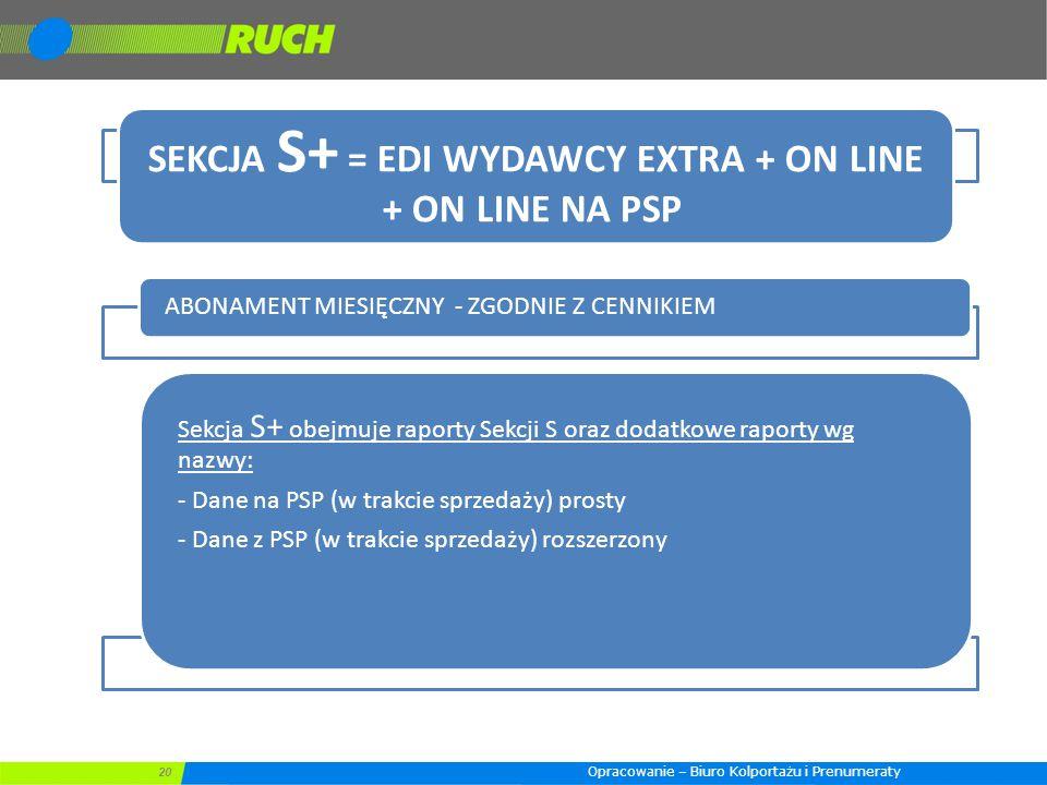 20 SEKCJA S+ = EDI WYDAWCY EXTRA + ON LINE + ON LINE NA PSP ABONAMENT MIESIĘCZNY - ZGODNIE Z CENNIKIEM Sekcja S+ obejmuje raporty Sekcji S oraz dodatkowe raporty wg nazwy: - Dane na PSP (w trakcie sprzedaży) prosty - Dane z PSP (w trakcie sprzedaży) rozszerzony Opracowanie – Biuro Kolportażu i Prenumeraty