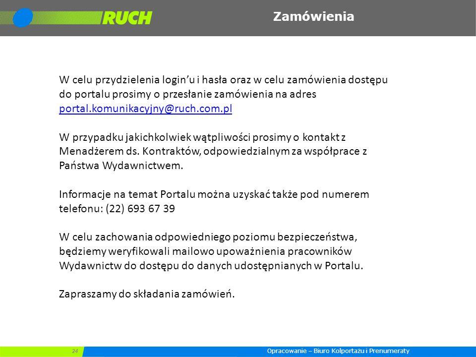 24 Zamówienia W celu przydzielenia login'u i hasła oraz w celu zamówienia dostępu do portalu prosimy o przesłanie zamówienia na adres portal.komunikac