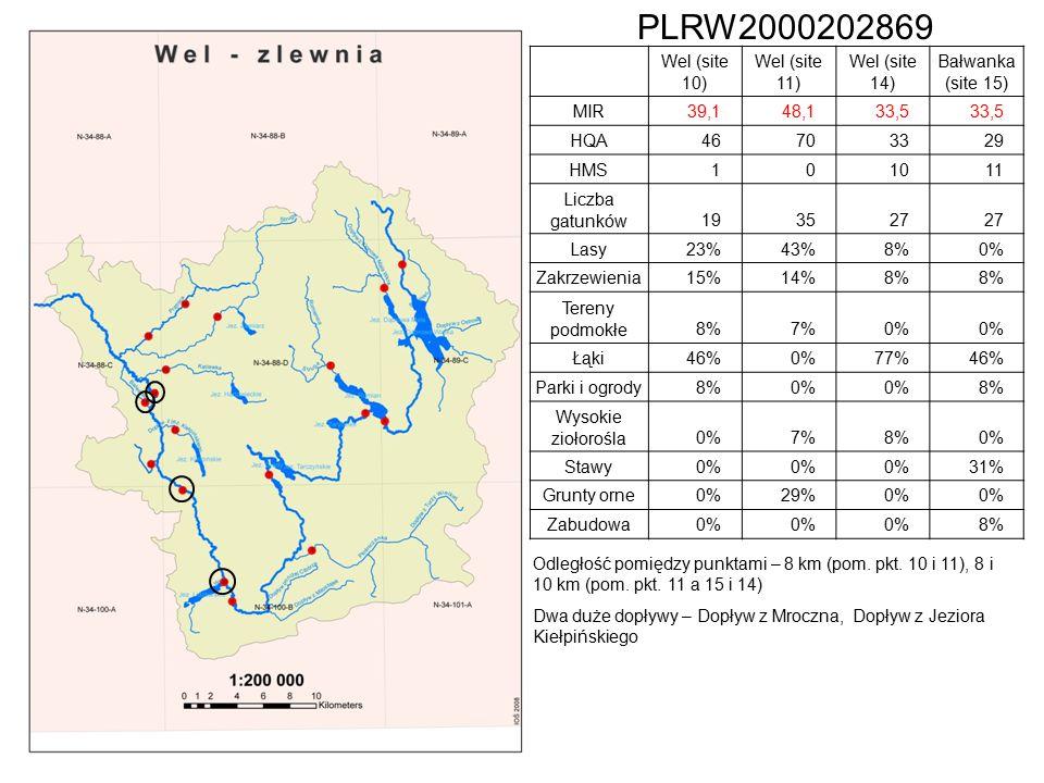 PLRW2000202869 Wel (site 10) Wel (site 11) Wel (site 14) Bałwanka (site 15) MIR39,148,133,5 HQA46703329 HMS101011 Liczba gatunków193527 Lasy23%43%8%0% Zakrzewienia15%14%8% Tereny podmokłe8%7%0% Łąki46%0%77%46% Parki i ogrody8%0% 8% Wysokie ziołorośla0%7%8%0% Stawy0% 31% Grunty orne0%29%0% Zabudowa0% 8% Odległość pomiędzy punktami – 8 km (pom.