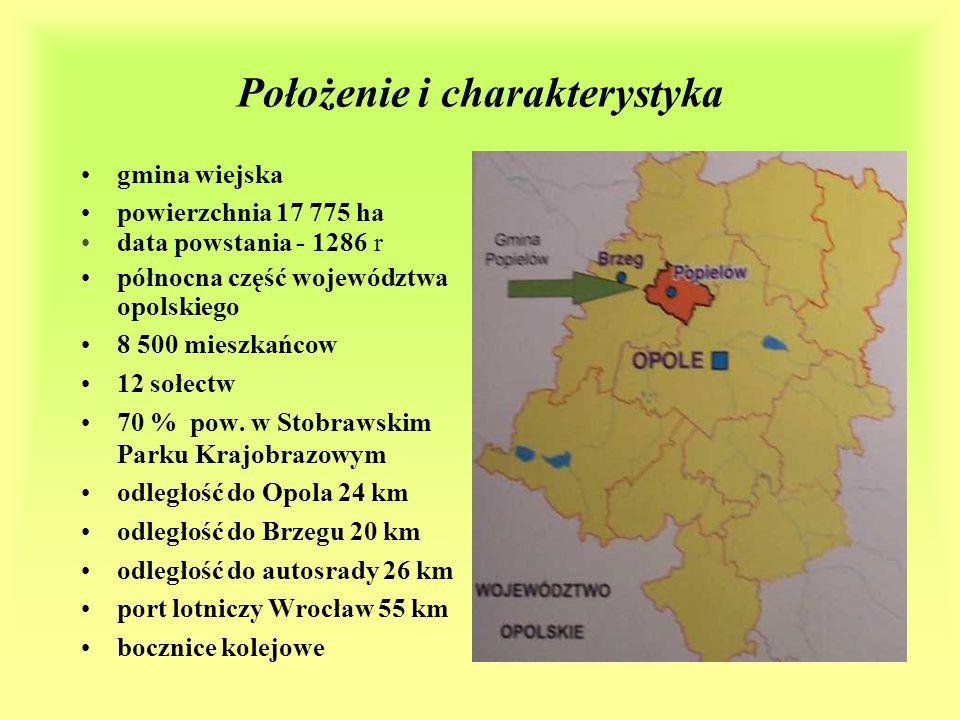 Położenie i charakterystyka gmina wiejska powierzchnia 17 775 ha data powstania - 1286 r północna część województwa opolskiego 8 500 mieszkańcow 12 sołectw 70 % pow.