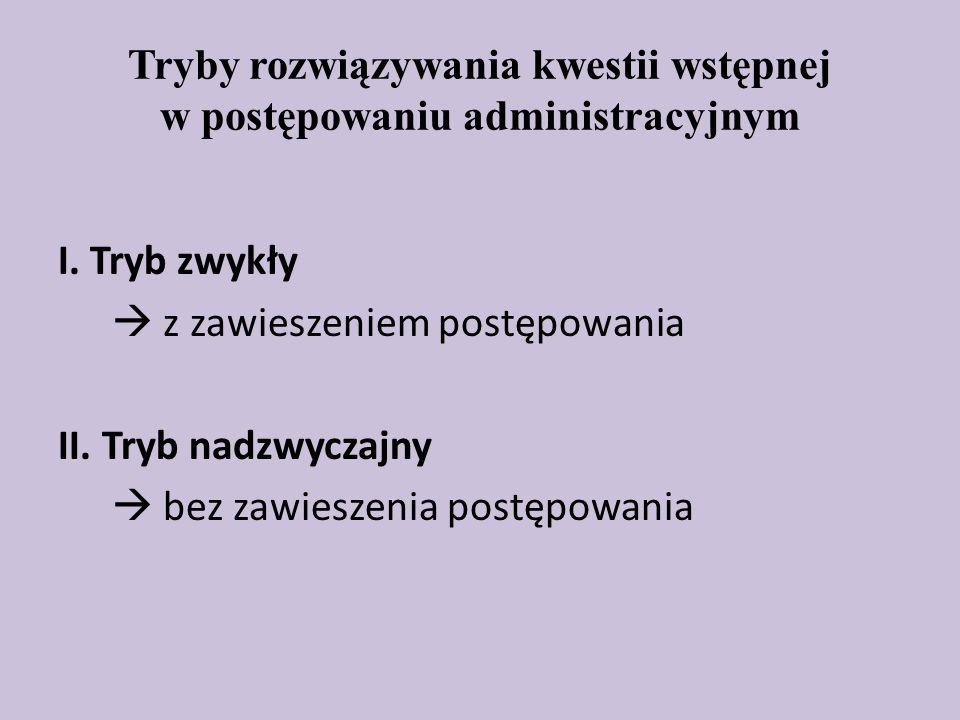 Tryby rozwiązywania kwestii wstępnej w postępowaniu administracyjnym I.