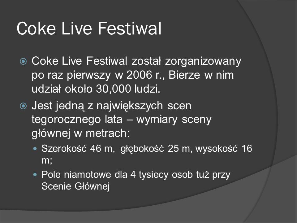 Coke Live Festiwal  Coke Live Festiwal został zorganizowany po raz pierwszy w 2006 r., Bierze w nim udział około 30,000 ludzi.