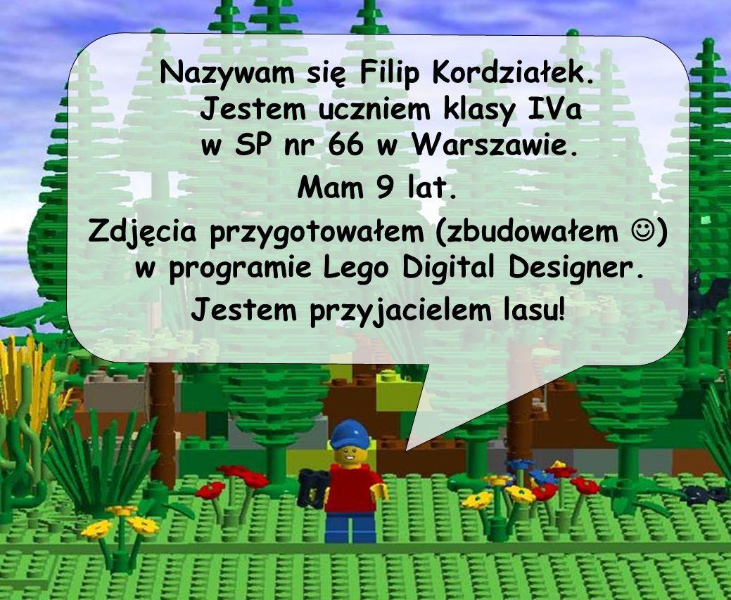 Nazywam się Filip Kordziałek. Jestem uczniem klasy IVa w SP nr 66 w Warszawie. Mam 9 lat. Zdjęcia przygotowałem (zbudowałem ) w programie Lego Digital