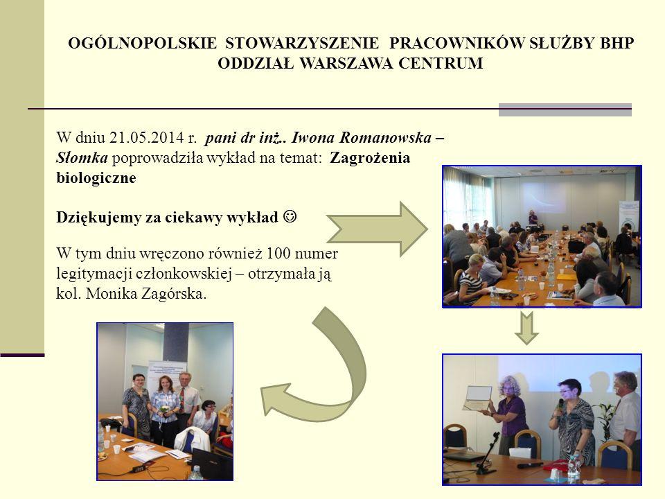 OGÓLNOPOLSKIE STOWARZYSZENIE PRACOWNIKÓW SŁUŻBY BHP ODDZIAŁ WARSZAWA CENTRUM W dniu 21.05.2014 r. pani dr inż.. Iwona Romanowska – Słomka poprowadziła