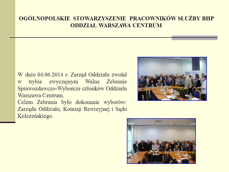 OGÓLNOPOLSKIE STOWARZYSZENIE PRACOWNIKÓW SŁUŻBY BHP ODDZIAŁ WARSZAWA CENTRUM W dniu 04.06.2014 r.