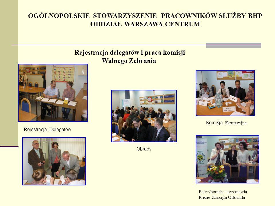 Obrady OGÓLNOPOLSKIE STOWARZYSZENIE PRACOWNIKÓW SŁUŻBY BHP ODDZIAŁ WARSZAWA CENTRUM Rejestracja delegatów i praca komisji Walnego Zebrania Komisja Skr