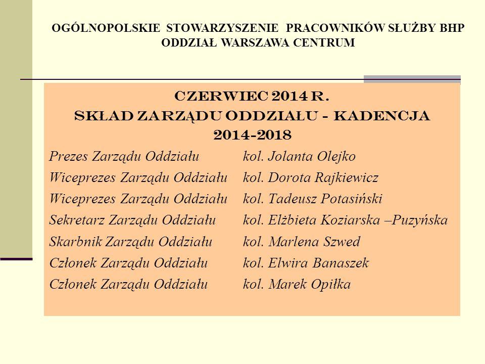 OGÓLNOPOLSKIE STOWARZYSZENIE PRACOWNIKÓW SŁUŻBY BHP ODDZIAŁ WARSZAWA CENTRUM Czerwiec 2014 r.
