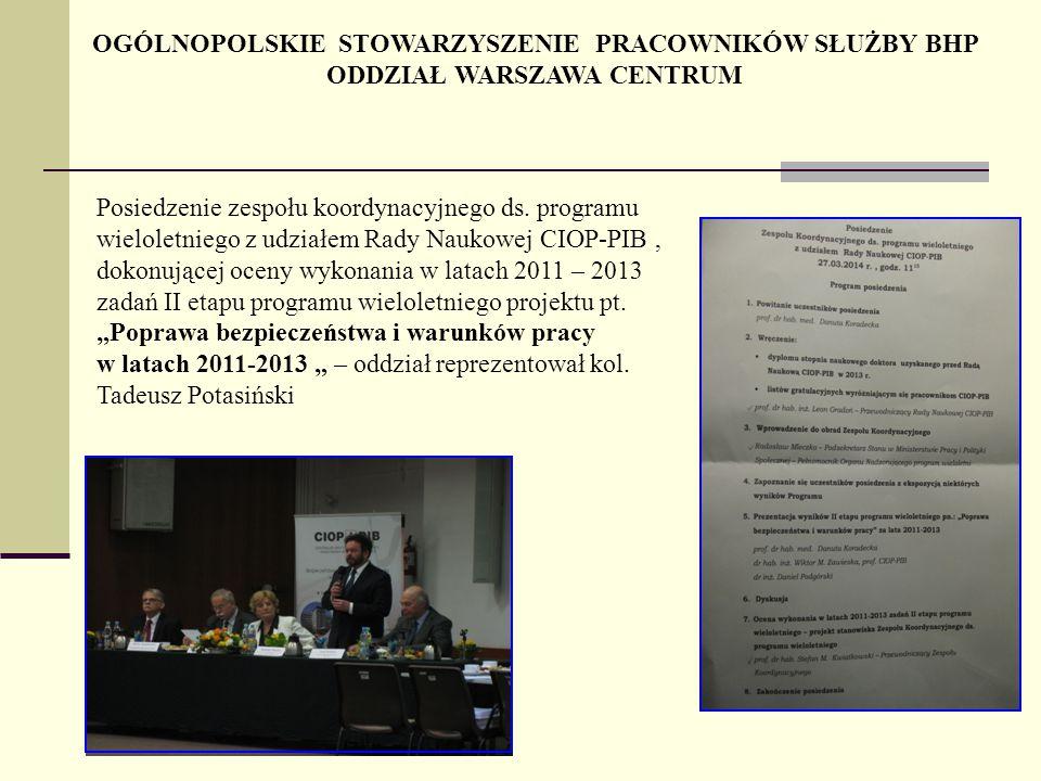 Posiedzenie zespołu koordynacyjnego ds. programu wieloletniego z udziałem Rady Naukowej CIOP-PIB, dokonującej oceny wykonania w latach 2011 – 2013 zad