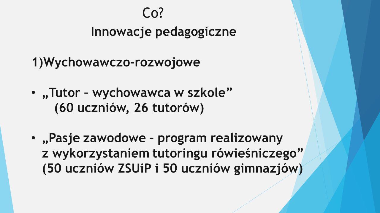 """Co? Innowacje pedagogiczne 1)Wychowawczo-rozwojowe """"Tutor – wychowawca w szkole"""" (60 uczniów, 26 tutorów) """"Pasje zawodowe – program realizowany z wyko"""