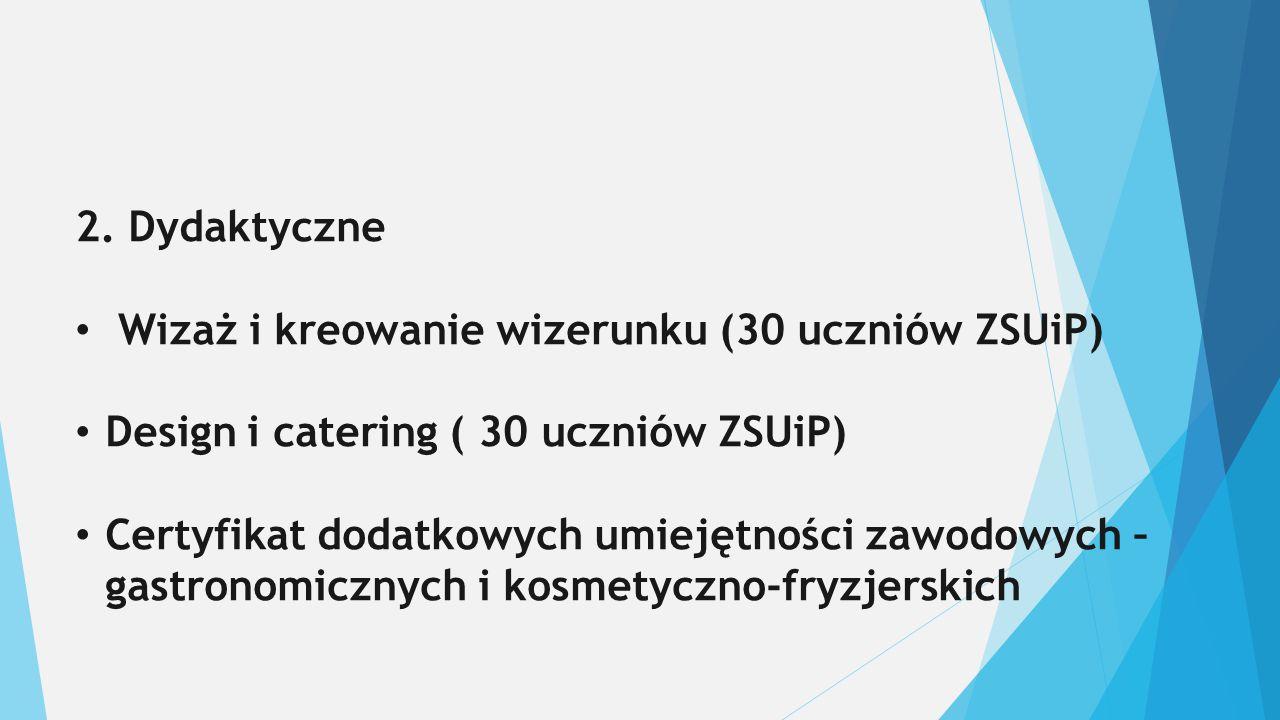 2. Dydaktyczne Wizaż i kreowanie wizerunku (30 uczniów ZSUiP) Design i catering ( 30 uczniów ZSUiP) Certyfikat dodatkowych umiejętności zawodowych – g