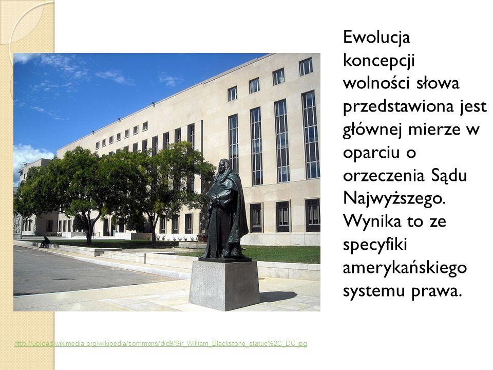 Ewolucja koncepcji wolności słowa przedstawiona jest głównej mierze w oparciu o orzeczenia Sądu Najwyższego.