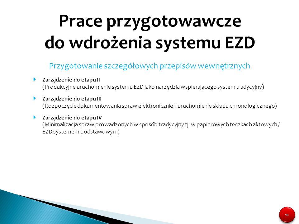 10 Prace przygotowawcze do wdrożenia systemu EZD Przygotowanie szczegółowych przepisów wewnętrznych  Zarządzenie do etapu II (Produkcyjne uruchomieni