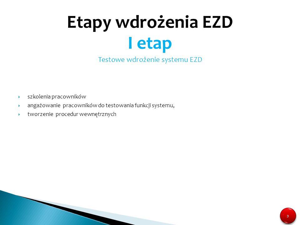 3 3 Testowe wdrożenie systemu EZD  szkolenia pracowników  angażowanie pracowników do testowania funkcji systemu,  tworzenie procedur wewnętrznych E