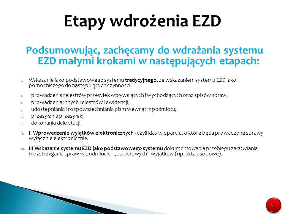 8 8 Podsumowując, zachęcamy do wdrażania systemu EZD małymi krokami w następujących etapach: I. Wskazanie jako podstawowego systemu tradycyjnego, ze w