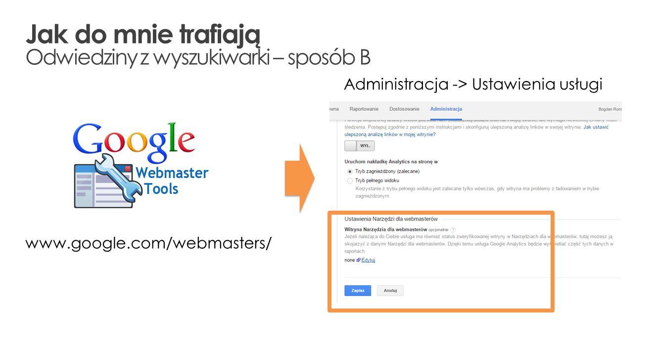 www.google.com/webmasters/ Administracja -> Ustawienia usługi Jak do mnie trafiają Odwiedziny z wyszukiwarki – sposób B