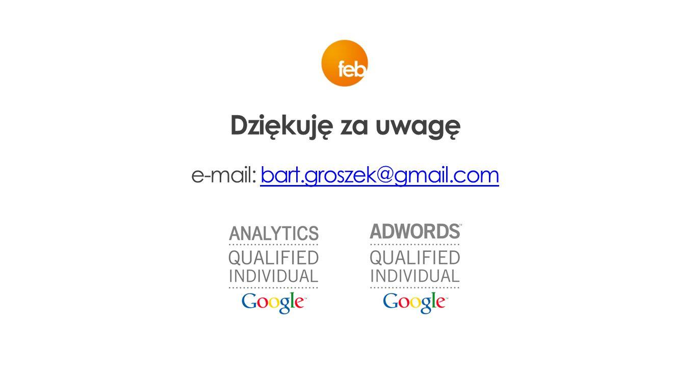 Dziękuję za uwagę e-mail: bart.groszek@gmail.combart.groszek@gmail.com