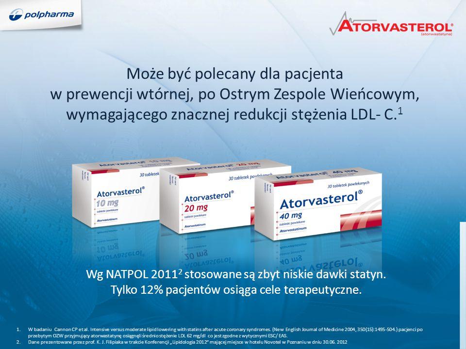 Może być polecany dla pacjenta w prewencji wtórnej, po Ostrym Zespole Wieńcowym, wymagającego znacznej redukcji stężenia LDL- C.