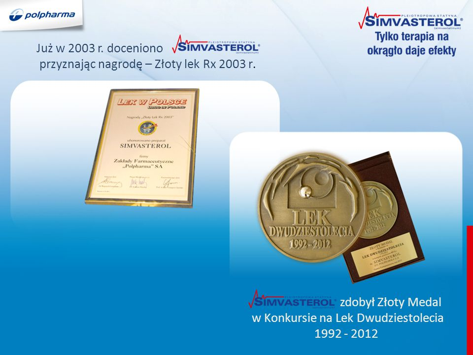 Już w 2003 r. doceniono przyznając nagrodę – Złoty lek Rx 2003 r. zdobył Złoty Medal w Konkursie na Lek Dwudziestolecia 1992 - 2012