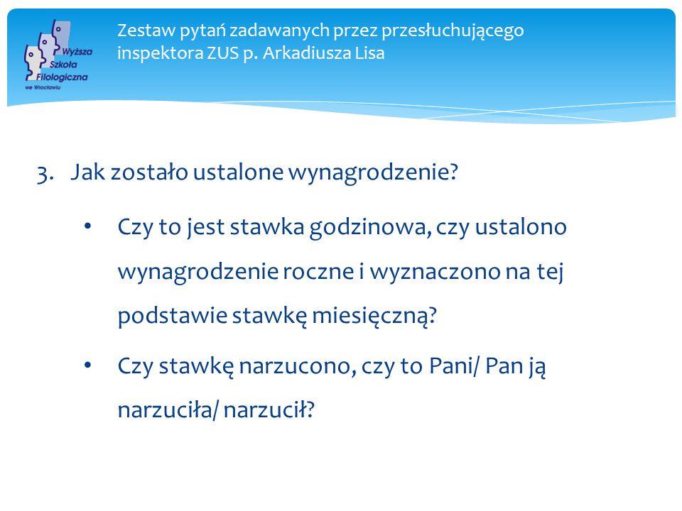 Zestaw pytań zadawanych przez przesłuchującego inspektora ZUS p.