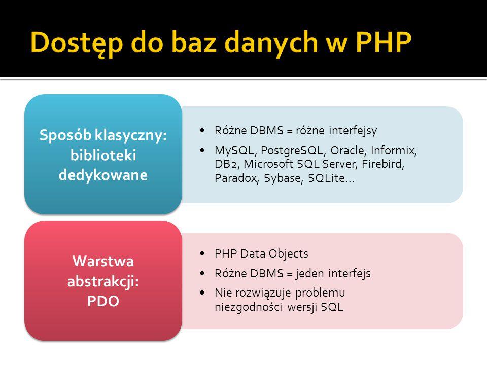 Różne DBMS = różne interfejsy MySQL, PostgreSQL, Oracle, Informix, DB2, Microsoft SQL Server, Firebird, Paradox, Sybase, SQLite… Sposób klasyczny: biblioteki dedykowane PHP Data Objects Różne DBMS = jeden interfejs Nie rozwiązuje problemu niezgodności wersji SQL Warstwa abstrakcji: PDO